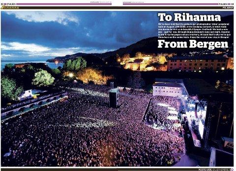 Faksimile fra BAs midtside med Rihanna-bildet fra 18. august.