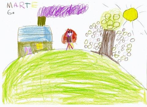 bade: Marte Frydenlund fra Gjøvik har tegnet ei jente som går fra huset sitt for å bade. Tusen takk for flott tegning Marte!