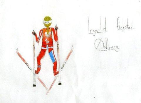 gullvinner: OL-gullvinner Ingvild Flugstad Østberg har gjort inntrykk på mange, også på Julie Bjerkevold Lied (11 år) fra Gjøvik som har sendt oss denne tegningen. Tusen takk for flott tegning Julie!