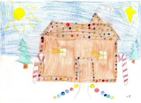 pepperkakehus: Anne-Karine Stenseth (9 år) fra Kapp har tegnet dette flotte pepperkakehuset. Takk for fin tegning, Anne-Karine!