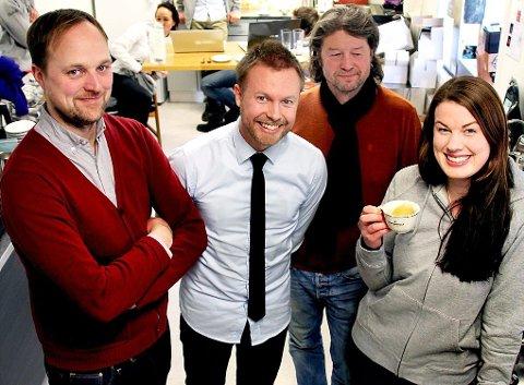 Rasmus Helgebostad og John Ivar Sørreime fra kaffebrenneriet Kaffa på besøk hos kaffelaben til Kaffebønne og Pål Einar Eilertsen og Karoline Giæver.