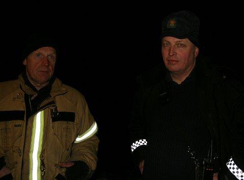 Brannsjef Jarle Opheim og politiførstebetjent Per Helge Sekse måtte gi opp letingen lørdag kveld.
