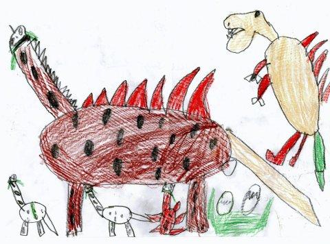 dinosaur: Sju år gamle Sigurd Strandbakken Bergheim fra Lensbygda har tegnet en dinosaur som legger egg og har dinosaurbabyer. Den andre store dinosauren prøver å ta eggene. Sigurd går på Vilberg skole. Tusen takk for flott tegning og utfyllende tekst!