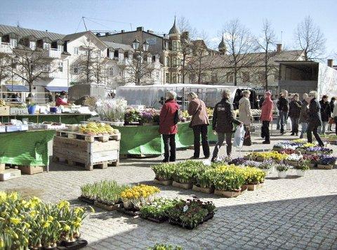Miljø: I Arvika har de torgdag to ganger i uka, der man om våren kan få kjøpt friske blomster.