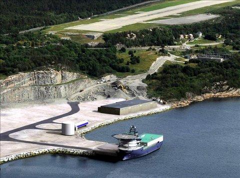 Det nye servicebygget til Halliburton er plassert lengst øst på baseområdet.