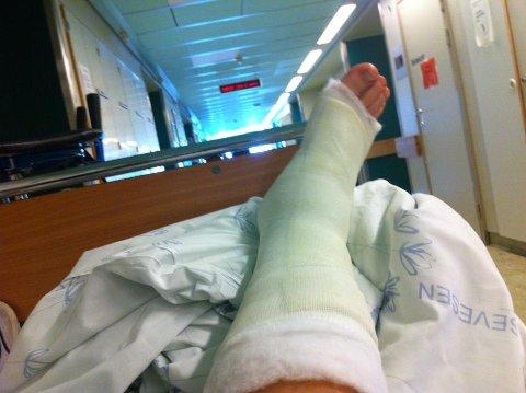 Dette bildet la Asgeir ut fra sykesengen på Haukeland 26. juni. Han skryter av behandlingen han fikk på ortopedisk avdeling.