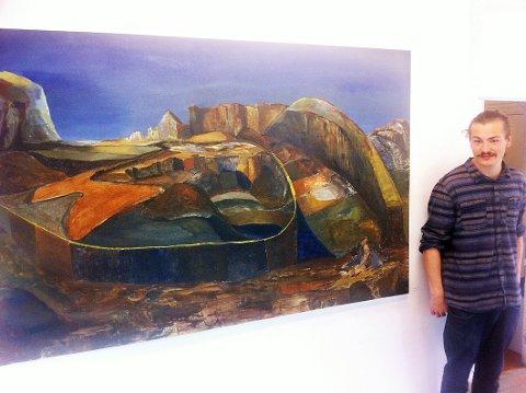 Øystein Vadet (23) fra Holmestrand åpner sin første egne utstilling i Lokalet på brygga torsdag kveld.