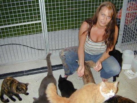 OPPGITT: Heidi Halvorsen i Dyrebeskyttelsen i Ringerike og omegn synes det er en stor belastning å få sinte telefoner fra katteeiere når hun må si nei til katten deres fordi det er fullt.
