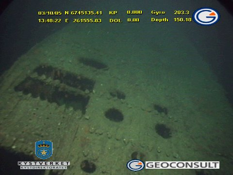 Undervannsvideo fra ubåtvraket U-864 der den hviler på havets bunn to kilometer vest for Fedje.