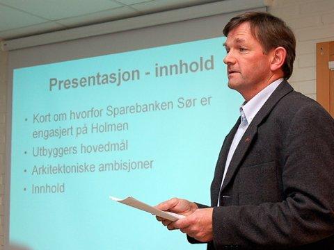 Per Arve Øyen understreket at eierne først må få klarhet i om politikerne vil lempe på boplikt-kravet før flere ressurser satses på Holmen.