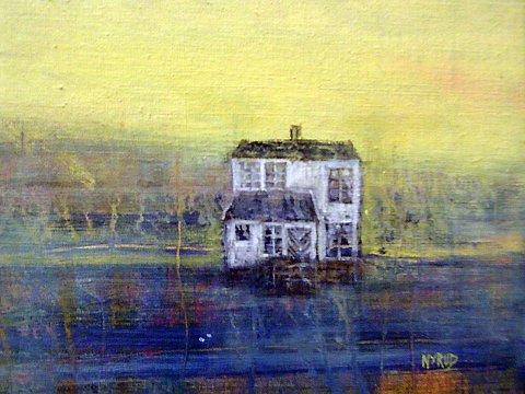 HUS: Detalj av et av Inger-Hilde Nyruds hus i landskap
