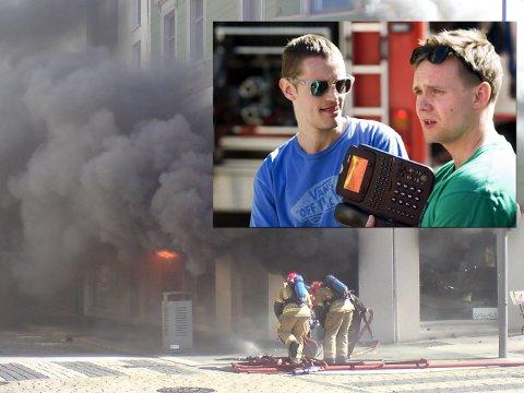 Sondre Jørgensen og Henrik Boye måtte rømme fra flammene da de var på jobb.
