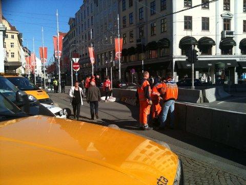 Mandag morgen stengte Strandkaien, omkjøring skjer via Christian Michelsens gate.
