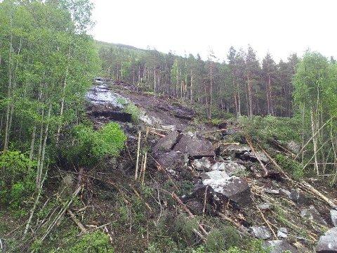 Et 30 meter bredt steinras har gått over E6 i Rosten. En bil ble tatt av raset og en person er bekreftet omkommet.