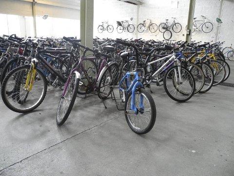 Her er sykkelhallen i gamle lokalene til Den grønne sykkel.