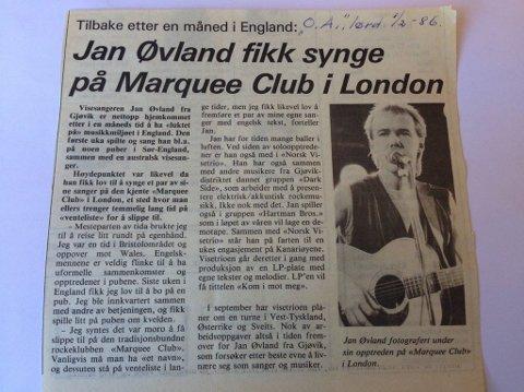 dannelsesreise: Etter romjulskonserten reiste Jan Øvland rundt i England og spilte. Det var der han fikk inspirasjonen til låta som etter hvert skulle bli Downtown. Faksimile OA