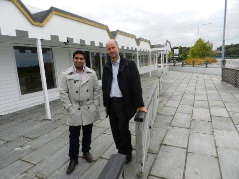 Rana S. Aslam (tv) og Asbjørn Aakvaag skal prøve å gjenskape Svinesundterrassen.- Når du kommer inn her skal du ikke være i tvil om at du kommer til Norge, sier de.