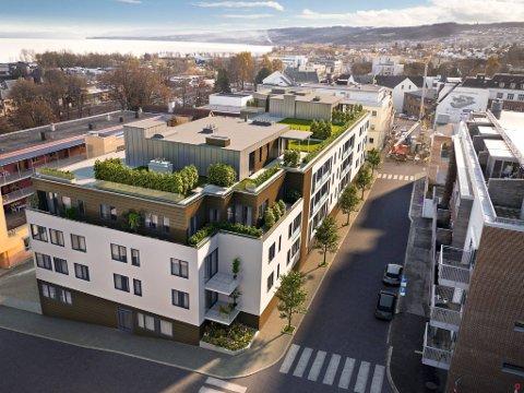SENTRALT: Stiftelsen Kaare Berg planlegger å bygge 40 nye selveierleiligheter midt i Gjøvik sentrum.