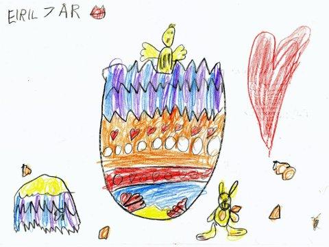 påskeegg: Eiril Erlien Solerød (7 år) fra Hunndalen har tegnet dette påskeegget. Tusen takk for flott tegning, Eiril!