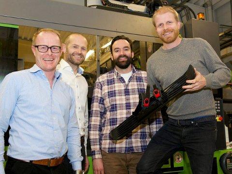 Samarbeid: Eirik Bjørnsen (f.v.), Bjarte Haldorsen, begge Biobe, og Onefoots Mathias Hansson og Simen Fornes, har tro på et fruktbart samarbeide. foto: jon Hermansen