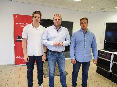 Utviklet seg: Fra firmaet ble etablert i 2012 har de fått elleve ansatte. Her er Richard Pettersen sammen med Marius Pettersen og Frank Gulstad.
