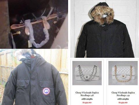 Louis Vuitton, Canada Goose og Chanel er merker som ofte kopieres. (Skjermdump, Nettavisen)