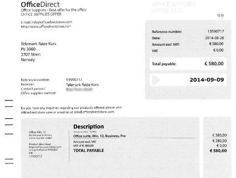 SLIK SER DEN UT: Telemark Røde Kors advarer andre bedrifter og organisasjoner mot denne «fakturaen» fra OfficeDirect. Det som tilsynelatende ser ut som en faktura, er et kamuflert tilbud. Ved å betale, bestiller man en programvarepakke som kan kjøpes for rundt halve prisen hos andre.