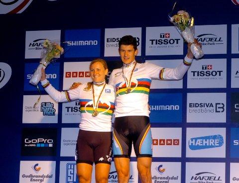 Tirsdagens VM-vinnere på Maihaugen var Kathrin Stirnemann fra Sveits og Fabrice Mels fra Belgia.