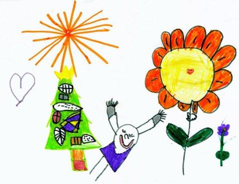 vakker blomst: Seks år gamle Oda Engeli fra Raufoss står bak denne fargerike tegningen. Tusen takk for flott tegning, Oda!