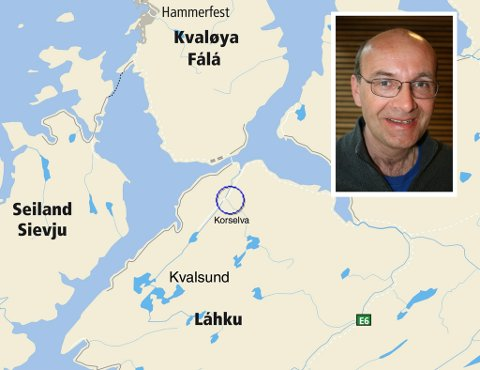 SØKNAD: Administrerende direktør i Finnmark Kraft AS, John Masvik (innfelt) søker om å bygge ut småkraftverk i tre kommuner i Finnmark. Korselva kraftverk vil utnytte et fall på 156 m i Korselva, mellom et inntak på kote 225 og en kraftstasjon på kote 69. Fra inntaket er det planlagt en kombinasjon av en nedgravd rørgate på om lag 1,6 km og en tunnel på 1,2 km. Det må bygges en 470 m lang permanent vei fra eksisterende vei til kraftstasjonen.