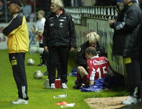 Erlend Hanstveit ble skadet under Brann-Lillestrøm i 2003.