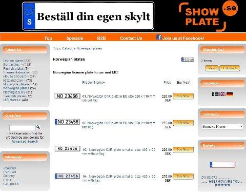 NETTBUTIKK: For noen hundrelapper selger nettbutikken skilt som ser ut som norske bilskilter. Foto: Skjermdump