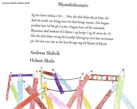 "Andreas Skålvik sitt bidrag: ""blyantleikestativ""."