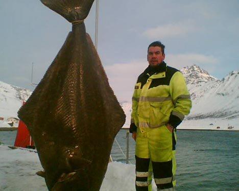 Tommy Nilsen med storkveita som ble tatt for hånd i Akkarvik.