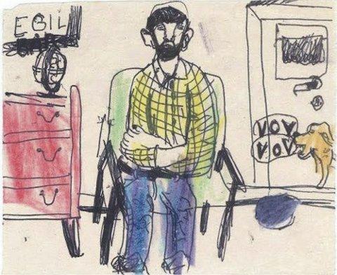 SITTENDE MANN | Barnetegning av Egil Nyhus, 5 år gammel.