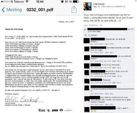 Erik Hanøy fleipet selv med attesten sin på Facebook tirsdag kveld. Den har siden gått som en farsott i sosiale medier.