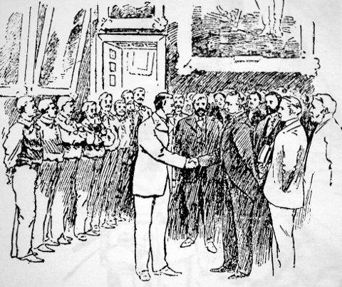 fra besøket publisert i amerikanske aviser og blader. 7 Magnus Andersen og hans mannskap under en pompøs mottagelse hos New Yorks borgermester.