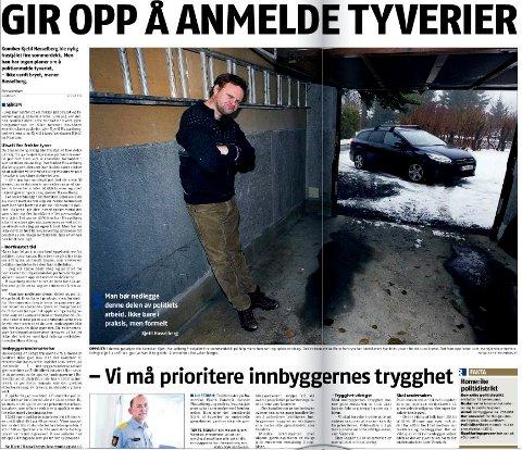 ? Ingen vits: Kjetil Hasselberg fortalte i Romerikes Blad 12. desember 2013 hvorfor han ikke anmeldte dekktyveriet fra garasjen.