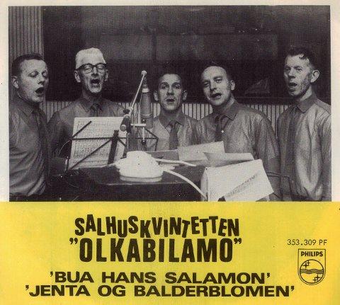 """Coveret til singelplaten Salhuskvintetten ga ut med """"Bua hans Salamon"""" og """"Jenta og balderblomen""""."""