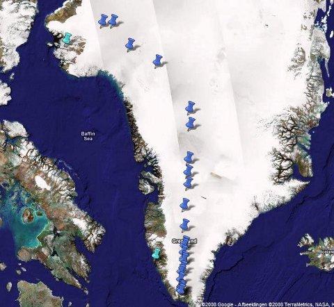 RUTA: Dette er ruta fra sør til nord på Grønland.  (Illustrasjon fra Google Earth)