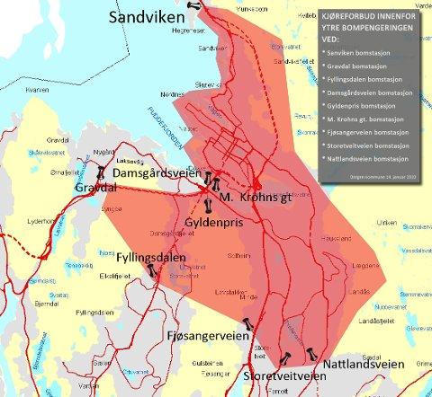 Kjøreforbudet gjelder innenfor ytre bompengering i det røde feltet på kartet (2010).