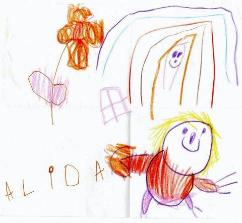 blomster og jente: Fra fire år gamle Alida Austdahl fra Odnes har vi fått denne tegningen. Tusen takk for flott tegning, Alida!