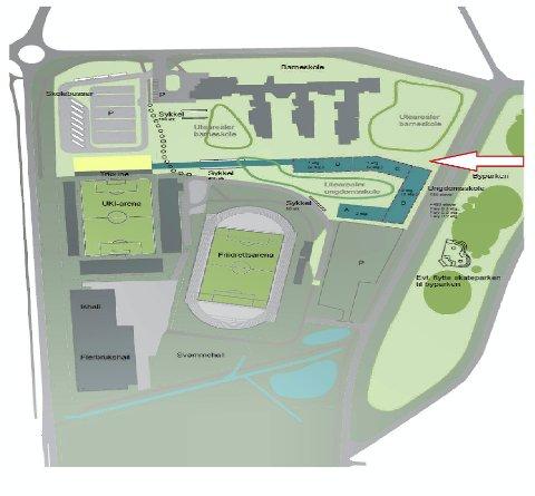 Anbefalt: Mellom barneskolen og friidrettsarenaen er rådmannens foreslåtte plasseringen av skolen (mørk grønn skisse).
