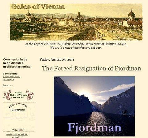 FJORDMAN: Faksimile av forsiden på en blogg hvor Peder Jensen, under pseudonymet «Fjordman», har gitt uttrykk for sine meninger og holdninger. Faksimile: Scanpix