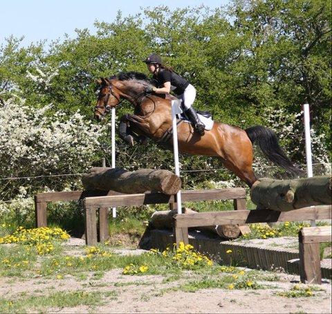 Hopper høyt: Marianne Tingbø og hesten Apache tok første plass på Hermanstorp i Sverige forige helg. Med feilfri sprang- og terrengkjøring var hun svært fornøyd med Apaches innsats , som igjen viste at både hest og rytter holder et internasjonalt nivå. Nå ser hun fram til flere store internasjonale stevner. (Foto: Privat)