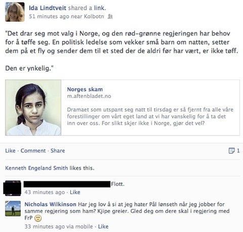 Her er svaret på Facebook.