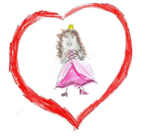 hjerteprinsesse: Louisa Hjelmås (9 år) går i Vindingstad SFO og har sendt oss denne tegningen. Tusen takk for flott tegning, Louisa!