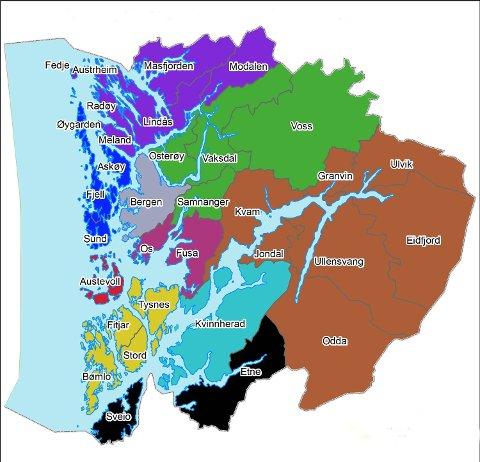 kart over kommuner i hordaland Bergensavisen   Slik vil Unge Høyre at Hordaland skal bli kart over kommuner i hordaland