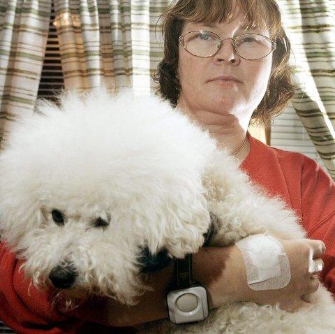 SCHÆFER ANGREP: Rullestolsbrukeren May-Wenche Østli og hennes Bichon Frise ble skambitt av en aggressiv schæfer under kveldsturen. Også Østlis venninne ble bitt av løshunden.FOTO: GEIR EGIL SKOG