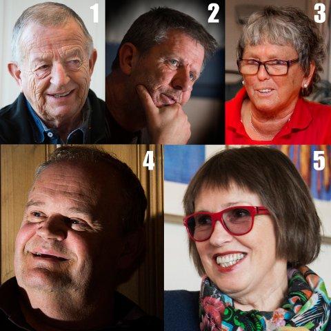 Odd Grønberg (nr. 1, TTIF), Tom Andreassen (nr. 2, Hand 2 Hand), Eva Kjelvik (nr. 3, Mandagsdamene i Røde Kors), Øivind Jørstad (nr. 4, Tistedalens Musikforening) og Anne Lise Lilleng (nr. 5, nisseaksjonen) kan bli Årets ildsjel. Du bestemmer hvem som vinner.